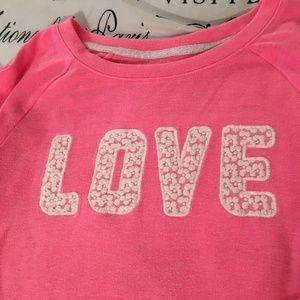 SO Shirts & Tops - Girls Pink LOVE Lace Trim Sweatshirt